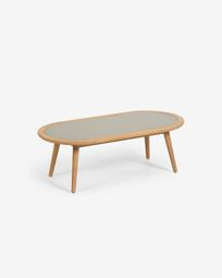 Nina coffee table made from poly cement and solid eucalyptus wood Ø 120 x 60 cm FSC 100%