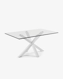 Τραπέζι Argo 180 εκ, γυαλί και λευκά πόδια