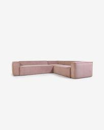 Γωνιακός καναπές 5θ Blok, 320 x 290 εκ, ροζ κοτλέ