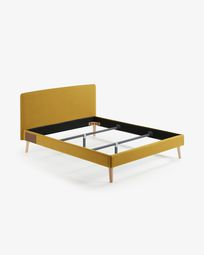 Dyla bed in mustard with solid beech legs 160 x 200 cm