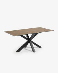 Τραπέζι Argo 180 εκ, πορσελάνη με φινίρισμα Iron Corten και μαύρα πόδια