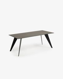 Koda table 200 cm porcelain Iron Moss finish black legs