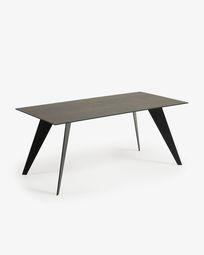 Koda table 180 cm porcelain Iron Moss finish black legs