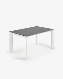 Extendable table Axis 140 (200) cm porcelain Vulcano Roca finish white legs