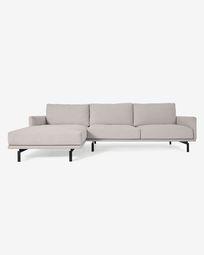 4θ καναπές με ανάκλινδρο αριστερά Galene, μπεζ, 314 εκ