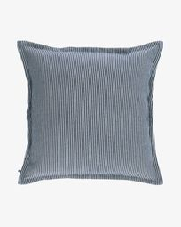 Aleria cotton cushion cover with white and blue stripes 60 x 60 cm
