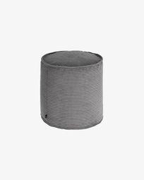 Small grey corduroy Wilma pouf Ø 40 cm