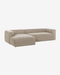 3θ καναπές με ανάκλινδρο δεξιά Blok, 300 εκ, μπεζ