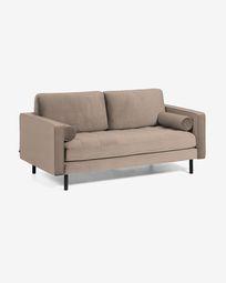 Debra 2-seater sofa in taupe velvet 182 cm