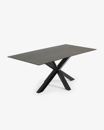 Τραπέζι Argo 200 εκ, πορσελάνη με φινίρισμα Iron Moss και μαύρα πόδια