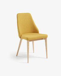 Καρέκλα Rosie, φυσικό φινίρισμα και μουσταρδί