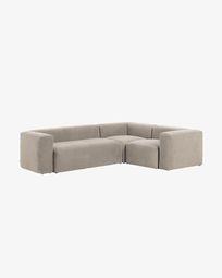 Γωνιακός καναπές 3θ Blok 290 x 230 εκ, μπεζ