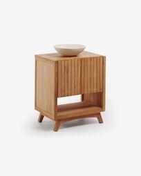 Kuveni solid teak rectangular cabinet with washbasin 70 x 92 cm