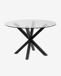 Τραπέζι Full Argo Ø 119 εκ, γυαλί, μαύρο