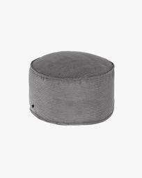 Large grey corduroy Wilma pouf Ø 70 cm