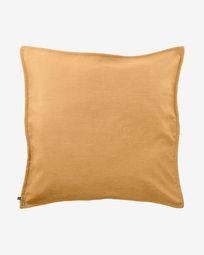 Blok linen cushion cover in mustard, 60 x 60 cm