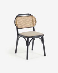 Καρέκλα Doriane, μασίφ φτελιά σε μαύρη λάκα και ταπετσαρισμένο κάθισμα