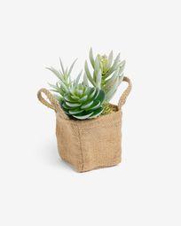 Τεχνητό Succulent μείγμα σε φυσική γλάστρα