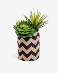 Τεχνητό μείγμα Succulent σε φυσικό και μαύρο γλαστράκι