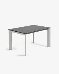 Extendable table Axis 140 (200) cm porcelain Vulcano Roca finish gray legs
