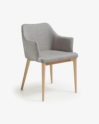 Καρέκλα Croft, φυσικό φινίρισμα και ανοιχτό γκρι