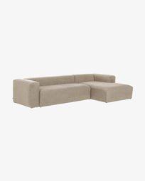 3θ καναπές με ανάκλινδρο δεξιά Blok 330 εκ, μπεζ