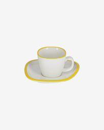 Κούπα σε πορσελάνη Odalin, κίτρινο και άσπρο
