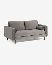 Debra 2-seater sofa in grey velvet 182 cm