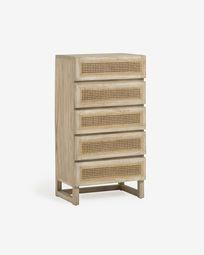 Συρταριέρα με 5 συρτάρια Rexit, 60 x 113 εκ, μασίφ ξύλο mindi και καπλαμάς, ρατάν