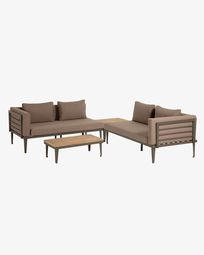 Pascale set of 2 sofas, coffee table and side table in grey and acacia wood (100% FSC)