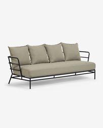 Mareluz 3-seater black steel sofa 197 cm
