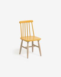 Tressia kids chair in solid rubber wood with mustard and natural finish