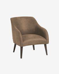 Πολυθρόνα Bobly, σκούρο γκρι ύφασμα και πόδια σε φινίρισμα wenge