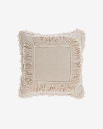 Κάλυμμα μαξιλαριού Edelma, βαμβακερό, 45 x 45 εκ, μπεζ με κρόσσια