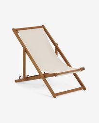 Adredna solid acacia outdoor deck chair in beige FSC 100%