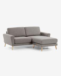 3θ καναπές με ανάκλινδρο Narnia 192 εκ, ανοιχτό γκρι