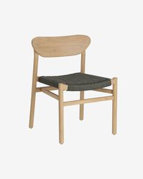 Galit chair made from solid eucalyptus wood with natural finish and green cord FSC 100%