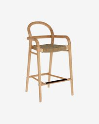 Sheryl stool made from solid eucalyptus and beige cord 69 cm FSC 100%