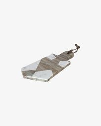 Vanina triangular serving board in grey and white marble