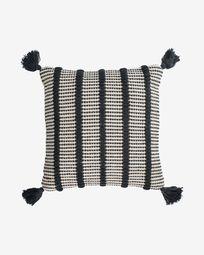 Κάλυμμα μαξιλαριού Maine, 100% βαμβακερό, μαύρες και λευκές ρίγες, 45 x 45 εκ