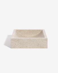 Kuveni countertop washbasin in white terrazzo 40 x 45 cm