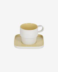 Κούπα και πιατάκι Midori, κίτρινο