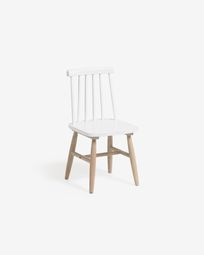 Tressia kids chair in solid rubber wood with white and natural finish