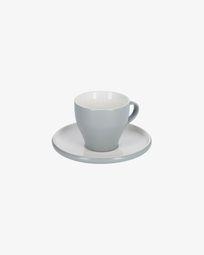 Κούπα καφέ και πιατάκι Sadashi, γκρι και άσπρη πορσελάνη