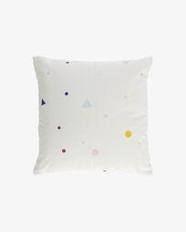 Κάλυμμα μαξιλαριού Miris 100% οργανικό βαμβάκι 45 x 45 εκ, χρωματιστές βούλες και τρίγωνα
