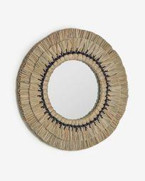 Στρογγυλός καθρέπτης Akila, 60 εκ, μπεζ φυσικές ίνες και μαύρο βαμβακερό κορδόνι