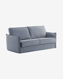 Sofá cama Samsa poliuretano azul 160 cm