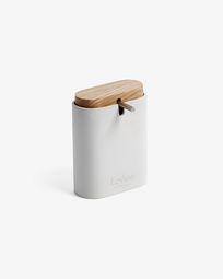 Elora white and beech soap dispenser