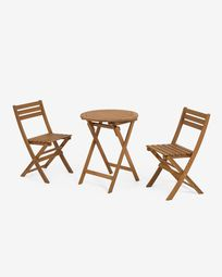 Elisia set of garden table and two folding chairs in solid acacia FSC 100%