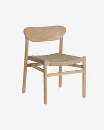 Καρέκλα Galit, μασίφ ξύλο ευκαλύπτου σε φυσικό φινίρισμα και μπεζ κορδόνι FSC 100%